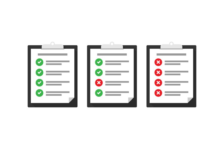 Flat check list vector icon set. Check list tasks completed example image 1