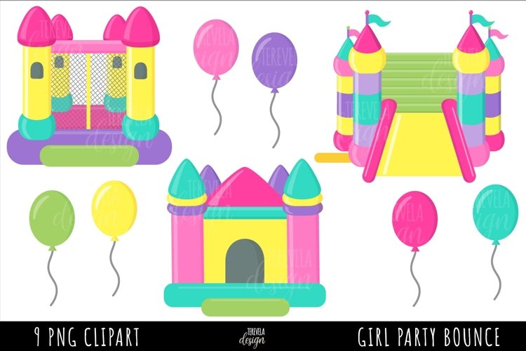 PARTY CLIPART, PINK BOUNCE HOUSE SUBLIMATION, BOUNCE