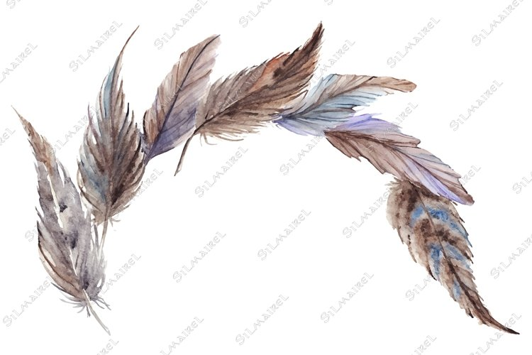 Watercolor gray grey blue brown feathers composition vector example image 1