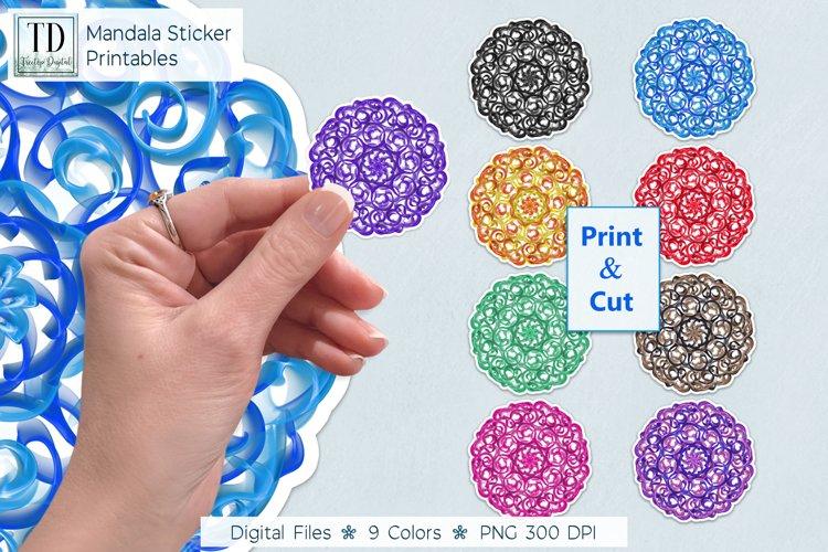 Mandala Curly Q Printable Stickers PNG Files