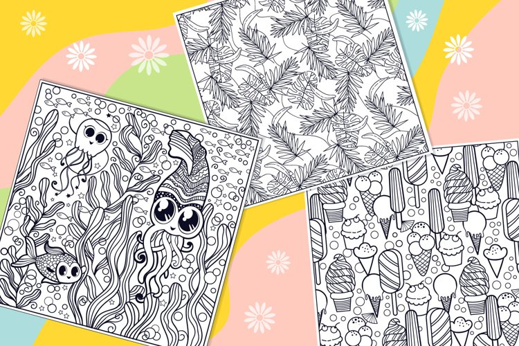 Summer Coloring Page Bundle- 10 vector items example 1