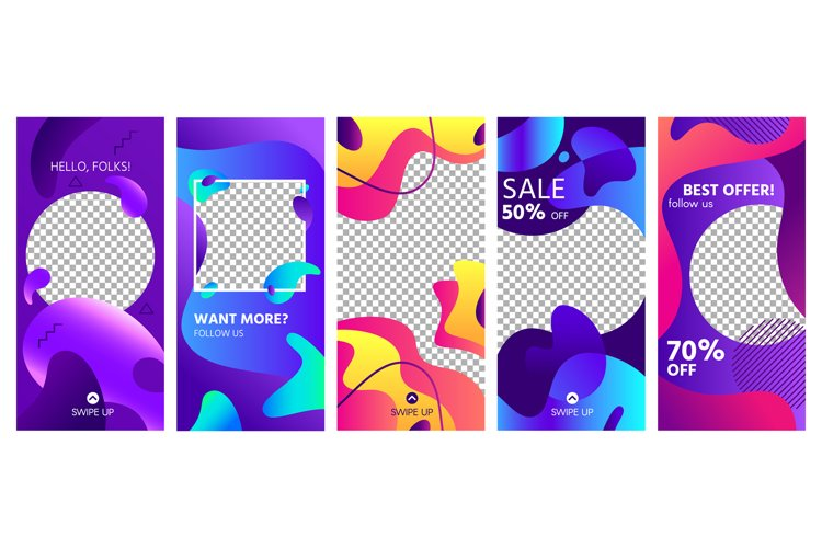 Fluid shapes stories template. Colorful abstract shape socia example image 1