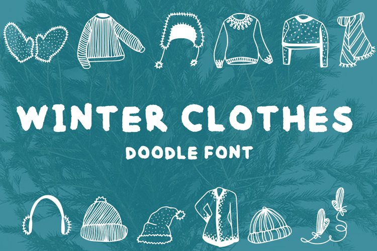Winter clothes doodle font example image 1