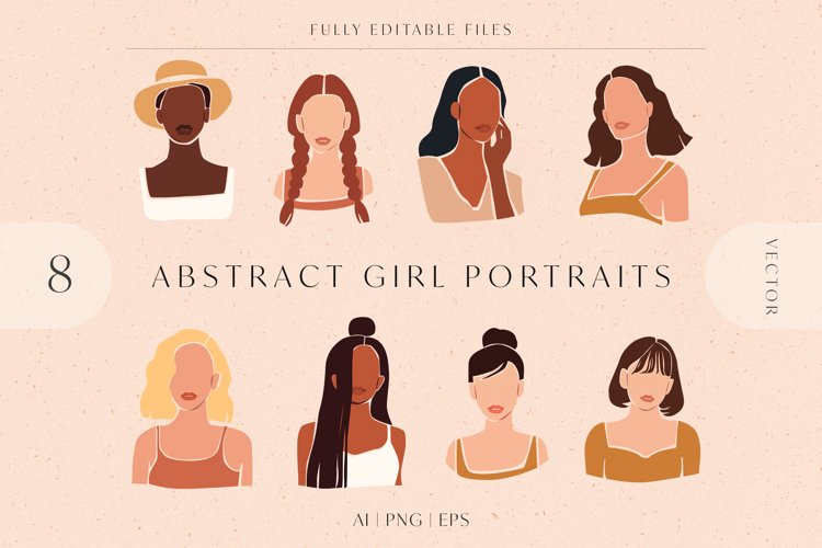 8 Vector Abstract Woman Portraits example image 1