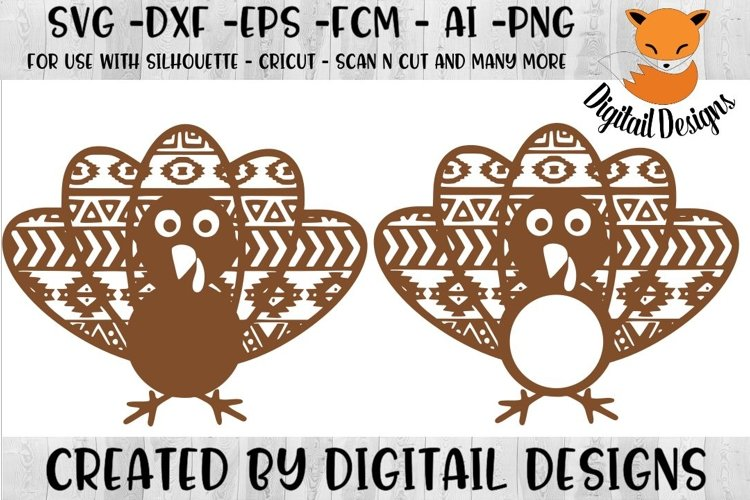 Aztec Turkey Monogram SVG for Silhouette, Cricut, Scan N Cut example image 1