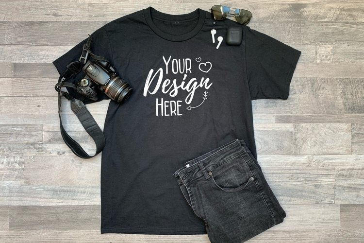 Classy Black Summer T-Shirt Mockup/ Unisex/ Flat Lay Display example image 1