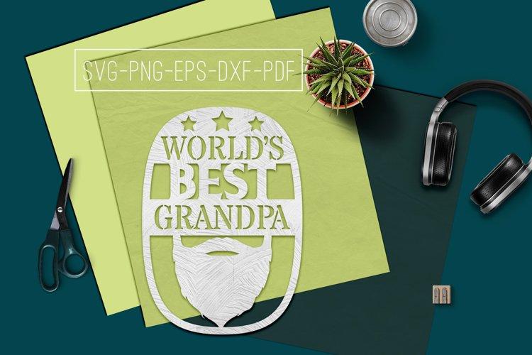 World's Best Grandpa Paper cut Template, Grandpa SVG, PDF example image 1