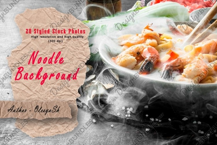 20 Photos Hot noodles with seafood and vegetables.
