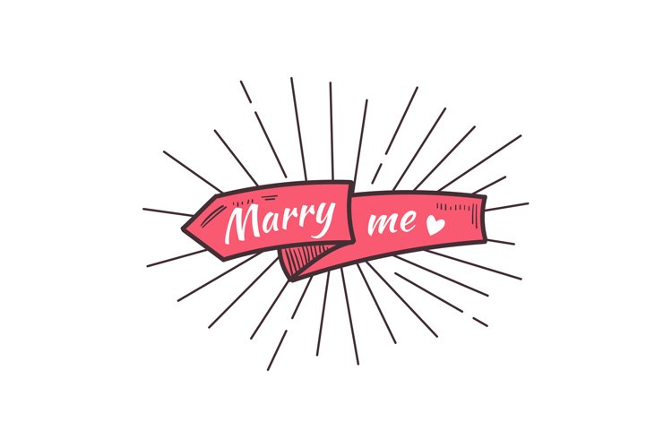 Marry me. The text on the hand drawn ribbon. example image 1
