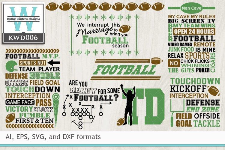BUNDLED Football Cutting Files KWD006 example image 1