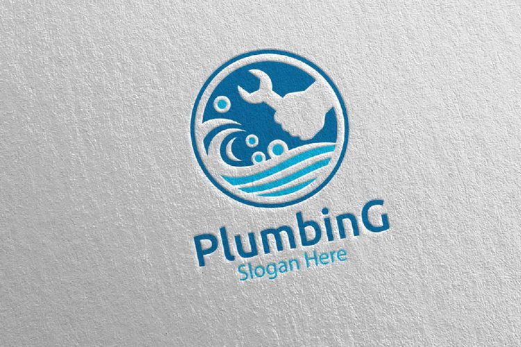 Wrench Plumbing Logo with Water and Fix Home Concept 78 example image 1