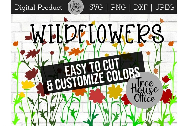 Wildflower Floral Botanical Hand Drawn SVG PNG JPG DXF example image 1