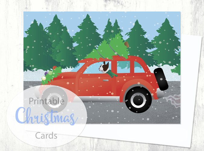 Brown Boston Terrier Christmas Card- Dog Driving Christmas Car - Digital Download Printable example image 1