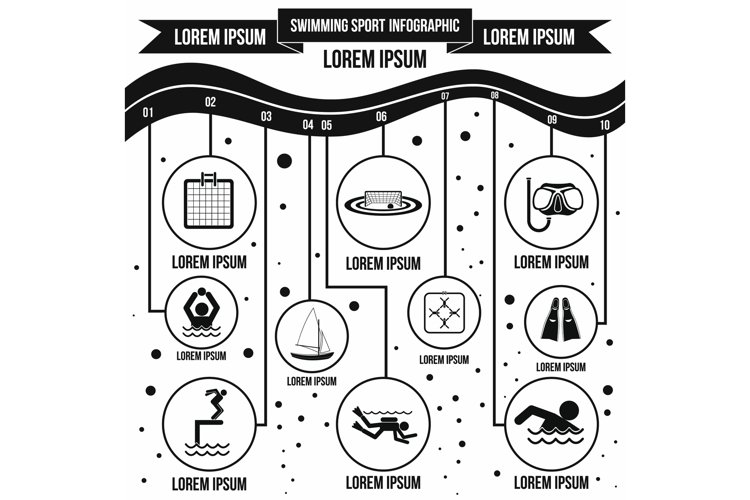 Swimming sport infographic elements, simple style example image 1