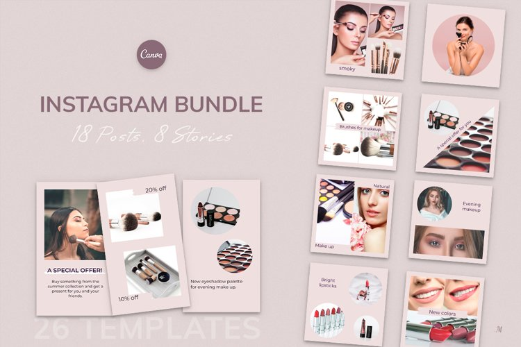 Instagram Bundle. Universal Beauty Canva Instagram Templates example image 1