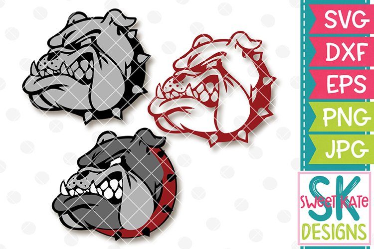 Bulldog Head SVG DXF EPS PNG JPG example image 1