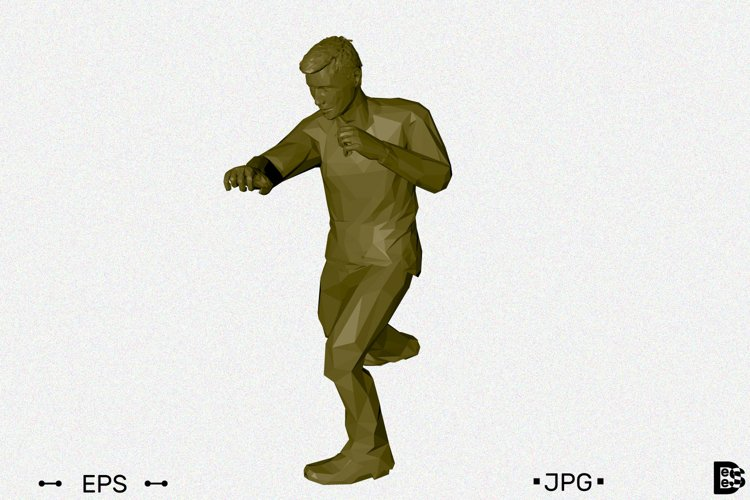 Man beats a punch. 3d Vector illustration. example image 1