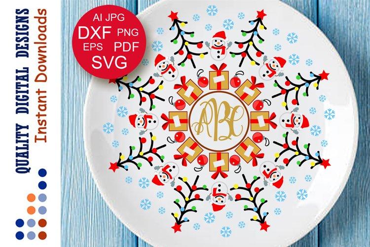 Christmas Monogram Svg Christmas tree Snowman Gifts clipart