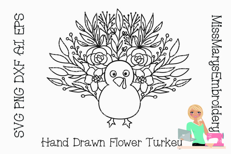 Flower Turkey SVG | Turkey SVG | Thanksgiving SVG | Flowers example image 1