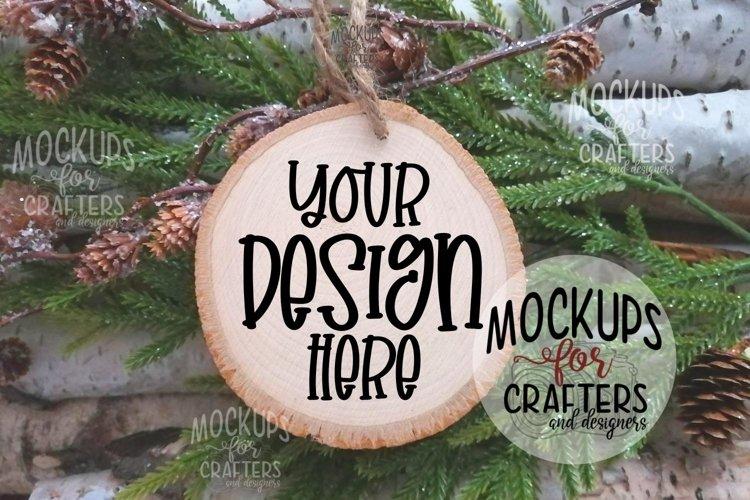 Wood Slice Ornament Mock-Up, Natural, Unpainted