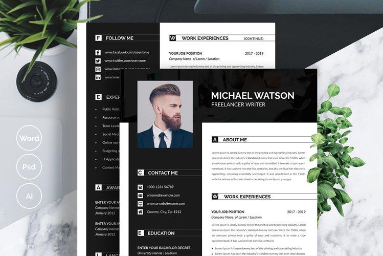 Resume Set with Dark Header and Sidebar example image 1