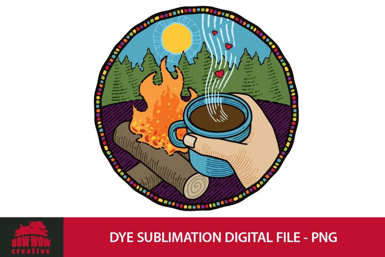 Camper Drinking Coffee Near a Campfire - Dye Sublimation PNG