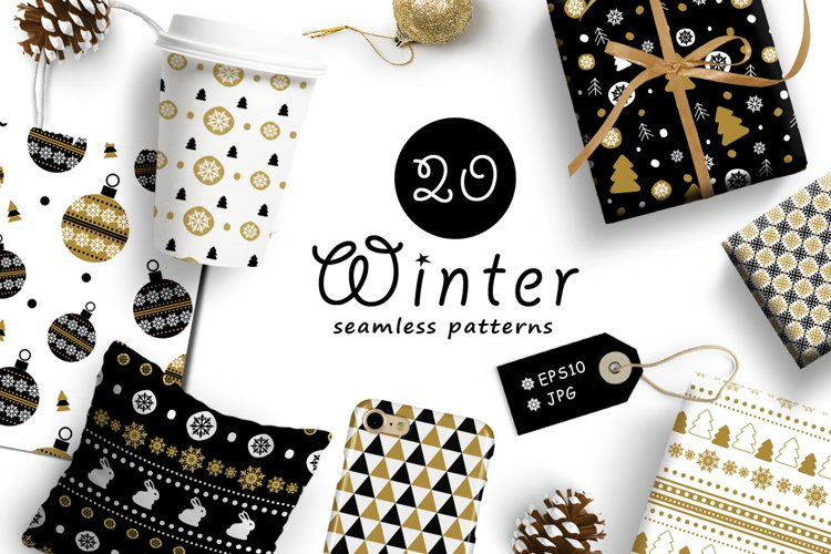 20 Winter seamless patterns example image 1