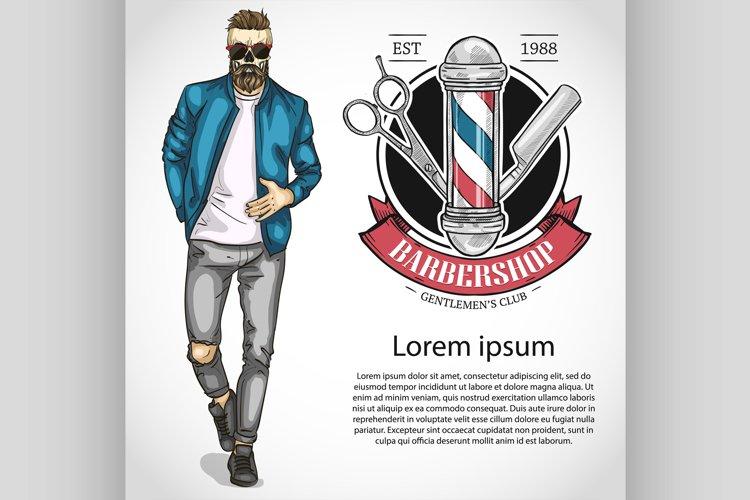 Barbershop flyer with scissors, pole, example image 1
