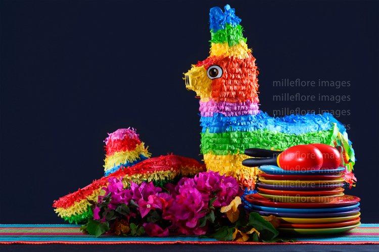 Cinco De Mayo Rainbow Pinata Party Table Styled Stock Photo