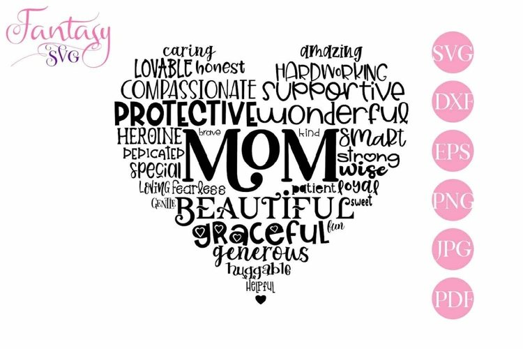 Mom Word Art - Svg Cut Files example image 1