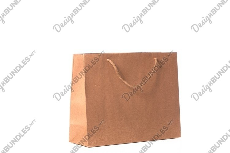 Craft reusable paper bag isolated on white background example image 1