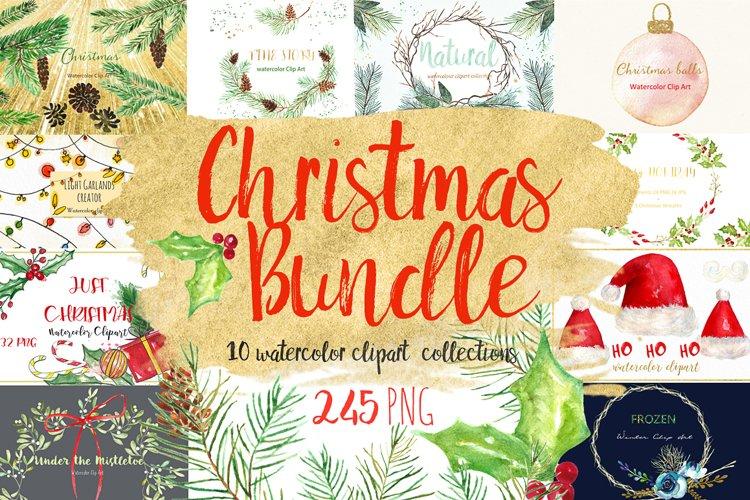 Christmas watercolor clipart bundle example image 1