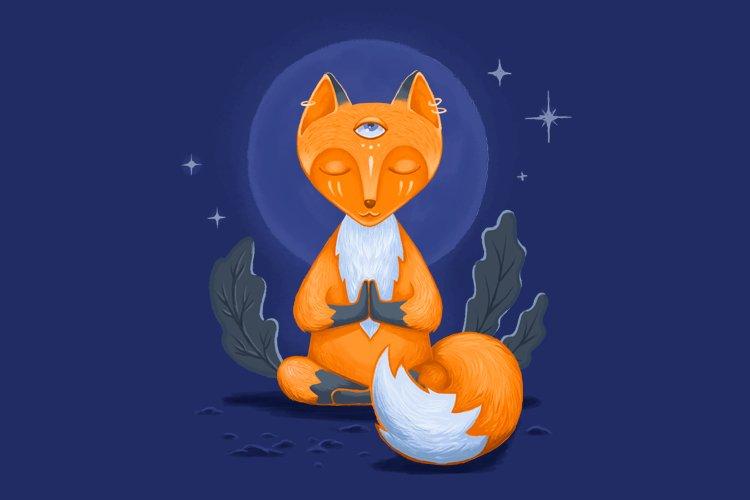 Little Fox Digital Illustration. Autumn Iluustration.