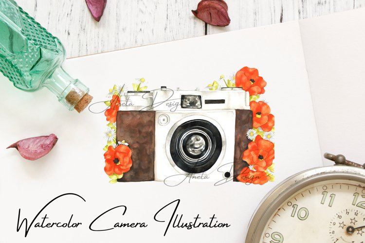 Camera with watercolor poppy flowers, Gift to photographer example image 1