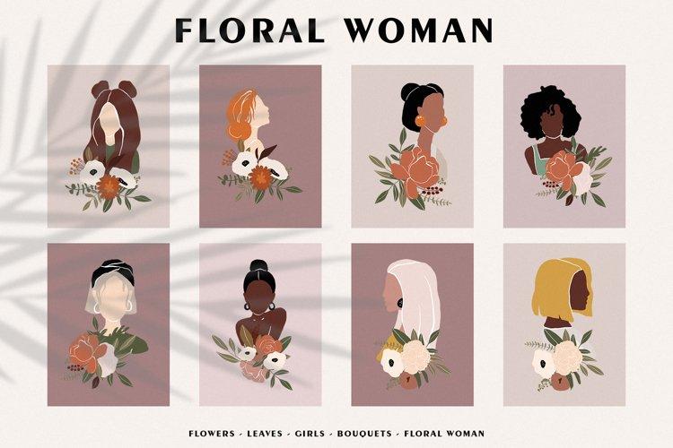 FLORAL WOMAN modern women prints, vector floral people