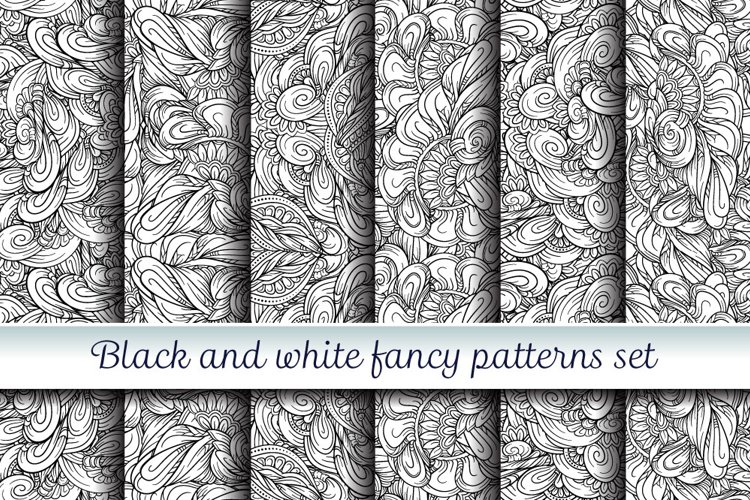 Black and white fancy patterns set