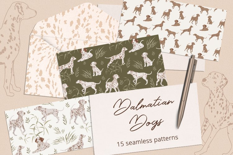 Dalmatian Dogs Seamless Patterns example image 1