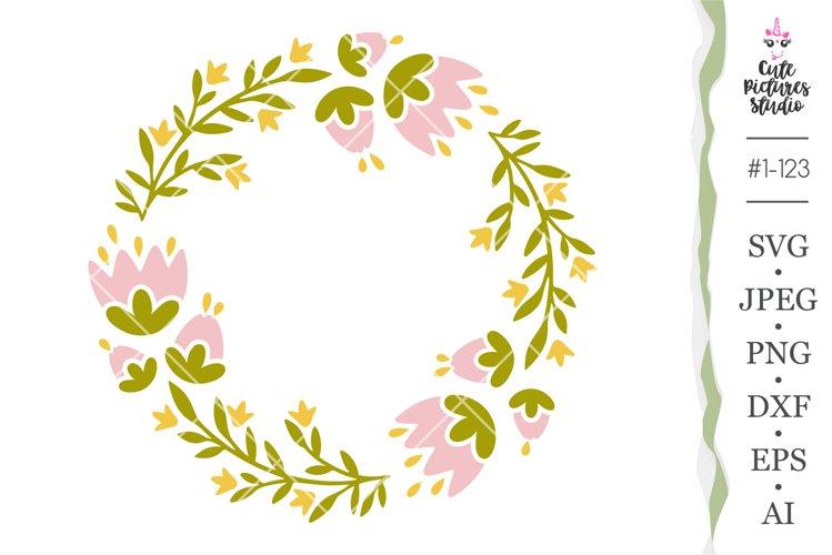 Floral monogram frame Cicut SVG cut file, Spring frame svg example
