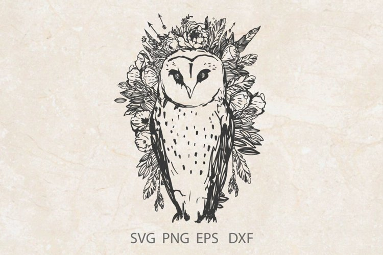 Owl SVG / Owl Boho style svg png dxf laser cut example image 1