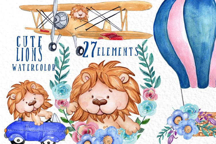 Cute Lions clipart, WATERCOLOR ANIMALS, Air Balloon flowers example image 1