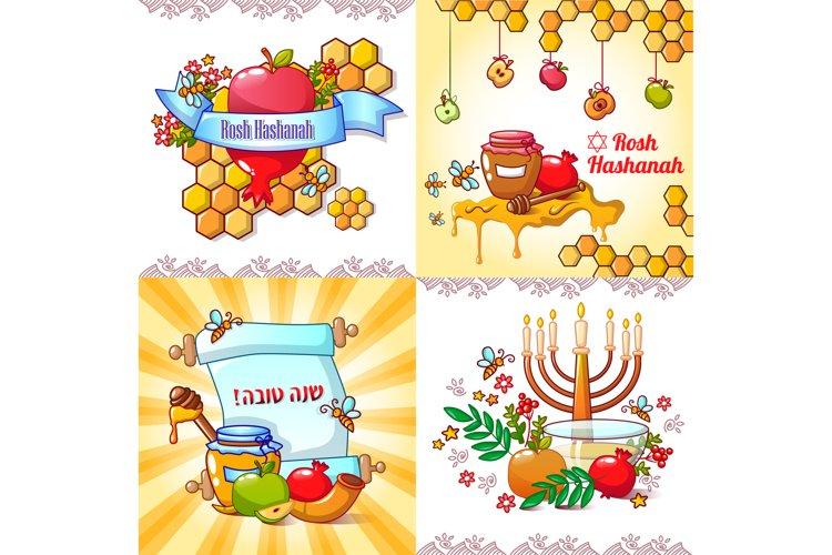 Rosh Hashanah banner concept set, cartoon style example image 1