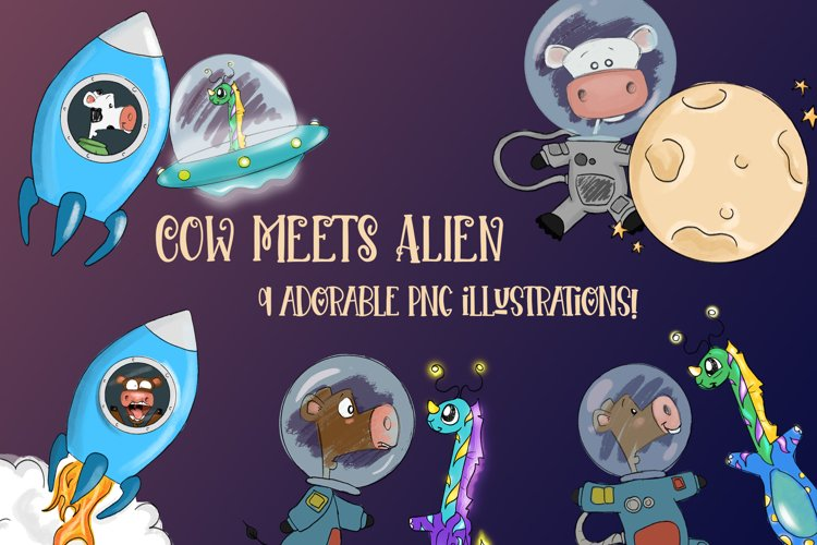 Cow Meets Alien| Cows in Space|Alien and Cow Clipart example image 1