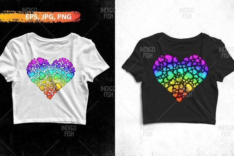 Sublimation Rainbow Hearts PNG
