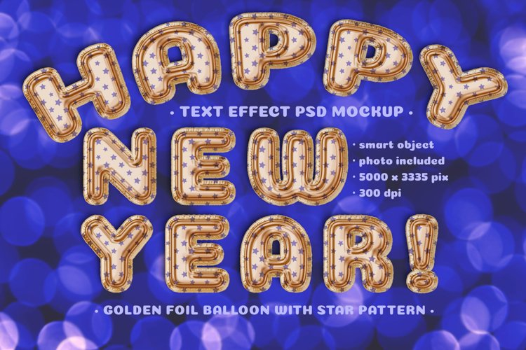 Foil Balloon Text effect Mockup