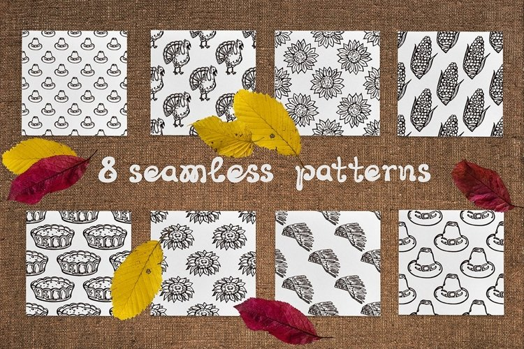 8 Thanksgiving patterns   SVG EPS AI JPEG PNG PSD example image 1