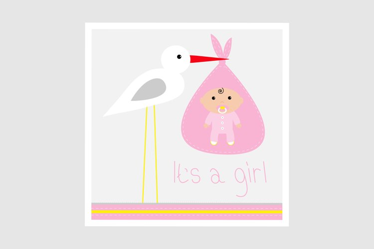 Its a girl. Stork and baby. Vector illustration example image 1
