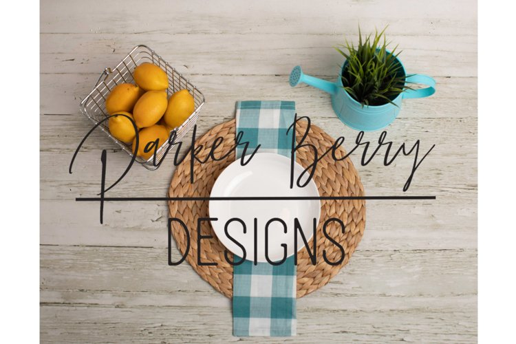 Blank Plate Setting with Lemons Mock up example image 1