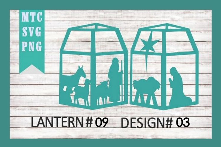Christmas Nativity 3D Paper Lantern #09 Design #03 Cut File example image 1