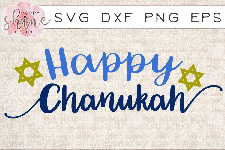 Happy Chanukah SVG PNG EPS DXF Cutting Files example image 1