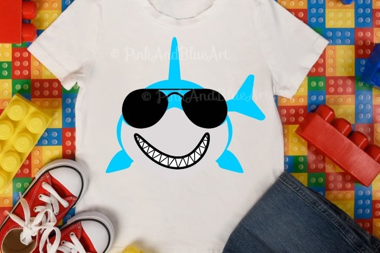 Shark svg - Summer svg - Shark with sunglasses svg - Boy shark svg - Printable - Cut file - Shark shirt - Beach- SVG - DXF - png - pdf - eps